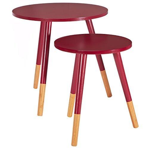 LOMOS® No.13 Set di tavolini da salotto, colore rosso, costituito da due  tavolini in legno