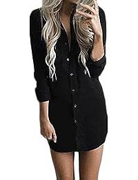 ee166376bb12b Donna Vestito Estivi Camicia Vestito Eleganti Corto Scollo A V Manica Lunga  Casual Solido Sciolto Estivo Spiaggia