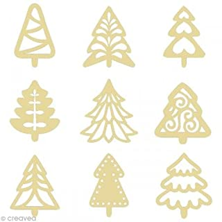 Artemio 2.5 cm Mini Wooden Christmas Trees Shapes, Beige
