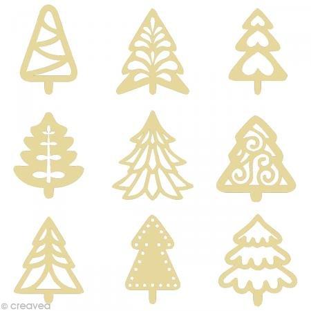 Artemio - Mini sagome in legno a forma di Alberi di Natale, 2,5 cm, colore: Beige
