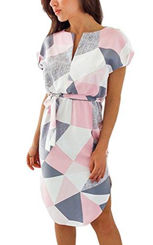 ECOWISH Sommerkleider Damen Kurzarm V-Ausschnitt Strand Blumen Kleider Abendkleid Knielang Rosa 3XL