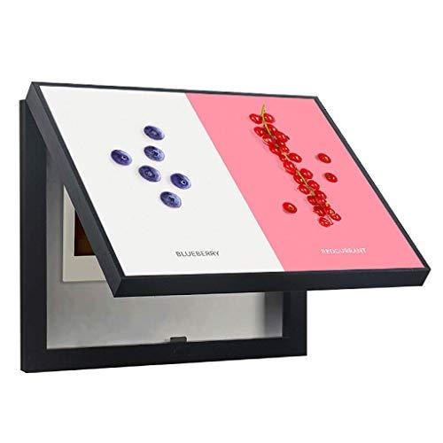 LITING Quadro Elettrico Scatola di Distribuzione Block Dipinto Decorativo Pittura Push-Pull Dipinto Moderno Soggiorno Minimalista (Colore : Bianca, Dimensioni : (50 * 40cm 40 * 30cm)-Flip Cover)