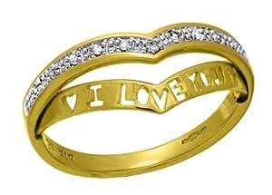 Naava 9 ct Yellow Gold 'I Love You' Diamond Wishbone Ring