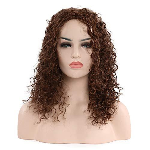 parrucca Signora nera Piccoli capelli ricci copricapo (Marrone chiaro -2/30)