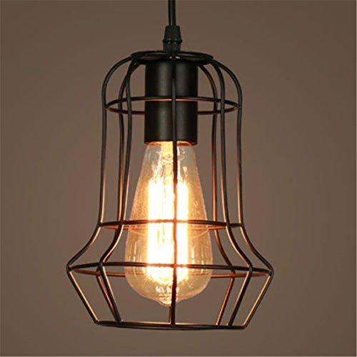 Lampe Suspendue de Plafond Cage en Fer d'Abat-Jour de Lustre Style Industrielle Décoration Bar Loft (sans ampoule) (4)