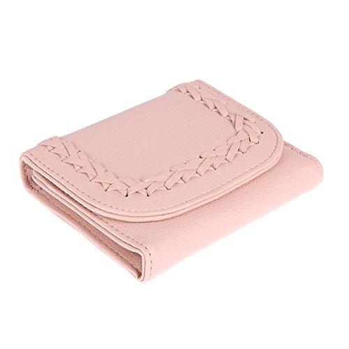 Amazingdeal365 Donna Pu Pelle Breve Pieghevole Portafogli Tessere Coin Borsa Frizione (Rosa Chiaro) Rosa Chiaro