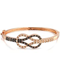 Bling Jewelry 3 Tone Rose Gold Plated Knot Simulated Coffee CZ Bangle Bracelet