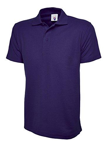 Uneek UC101 Polo piqué polyester/coton unisexe classique, avec col en tricot et finition manches ourlées. Violet - Violet