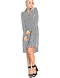Women's Ladies Stripe Shirt Dress