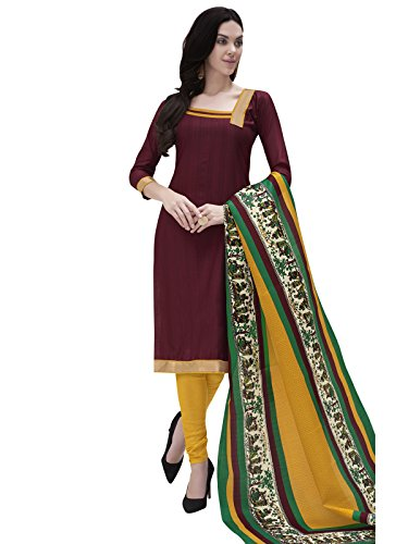 Kanchnar Women's Brown and Yellow Bhagalpuri Plain Casual Wear Dress Material with...