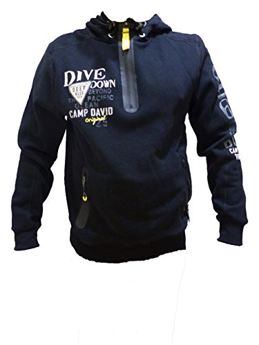 CAMP DAVID SWEATSHIRT WITH HOOD DEEP SEA BLACK CCB-1709-3741 M L XL XXL XXXL (M)