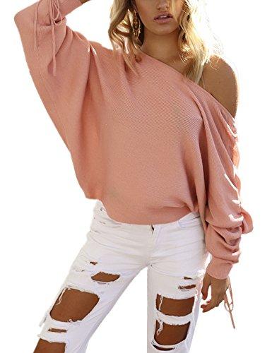 Femme Automne-Hiver Sexy Col Bateau Pull Épaule Dénudé Chandails Lâche Manches Longues Casual Pull-over En Laine Sweater Jumper Tricots Sweat-shirt Monissy Rose