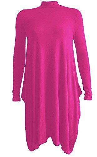 Generic Damen Swing-Kleid Kleid, Einfarbig * Einheitsgröße Fuchsia