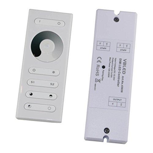 LED RF Dimmer mit Fernbedienung für einfarbige LEDs 12-24V DC Touch-Dimmer/Fernsteuerung für einfarbige LED Streifen, Module, etc Touch RF-Fernbedienung Regler Kontroller [Energieklasse A+] -