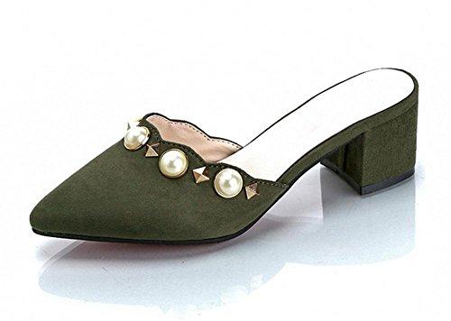 In einem Wort mit dick mit spitzen Pantoffeln weiblicher Sommer Mode Perle Baotou Frauen Sandalen und Pantoffeln army green