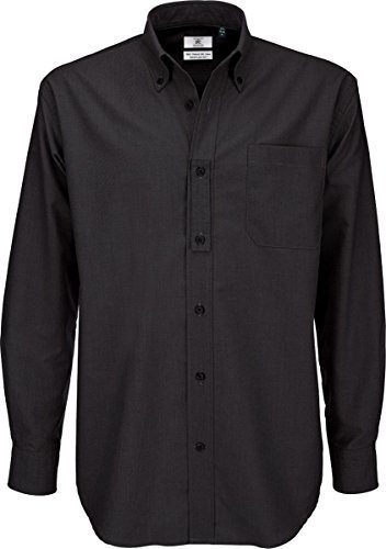 B&c oxford shirt, camicia casual uomo, black (black), 56