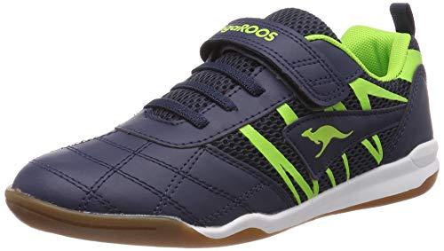 KangaROOS Unisex-Kinder Court Comb EV Sneaker, Blau (Dk Navy/Lime 4054), 34 EU