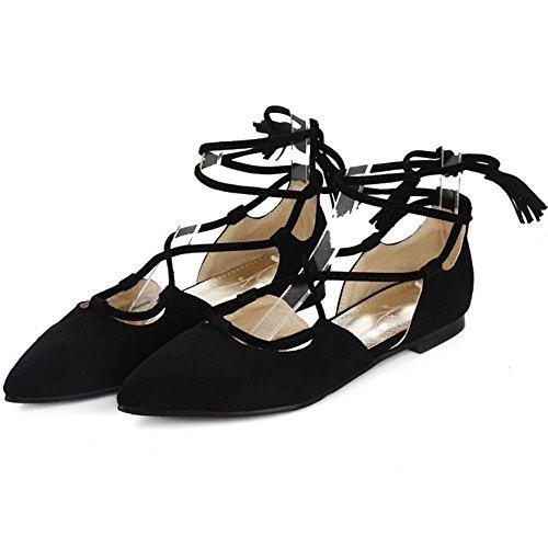 TAOFFEN Femme Elegant Bout Ferme Pointue Chaussures Ete Lacets Sandales Plat Ballerine Noir