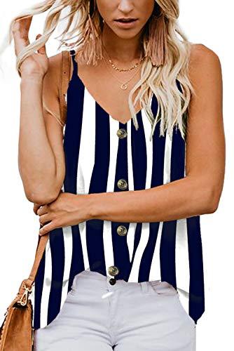 Aranmei Damen Sexy Tank Top Sommer Bluse V-Ausschnitt Ärmellose Shirt Elegant Weste Hemdbluse Loose fit T Shirt mit Trägern (Schwarz gestreift, Small) -