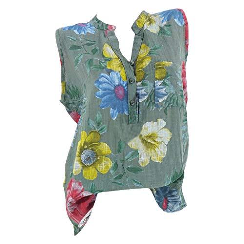 Ausverkauf Damen T Shirts Fashion Damen Ärmellos Blumendruck Sommer T Lässige Bluse Tops Shirt S-5XL (Für Verkauf Renaissance-outfits)