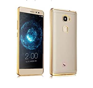 Chevron Back Case Cover for LeEco Le 2 (Transparent/Gold Border) [Electroplated Dual Tone Transparent Perfect Fit]