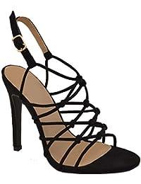 4fa5ed6760d1a Fashion Thirsty Donna Tacco Alto a Spillo Sandali Color Carne Nero  Matrimonio Fibbia Cinturino Taglia da