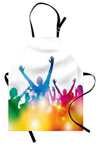 Festival-Schürze, Gruppe von Jugendlichen, die Musikkonzert genießen Dynamische Regenbogenfarben Bokeh-Effekt, Unisex-Küchenschürze mit verstellbarem Hals für das Kochen von Backen-Gartenarbeit, ()