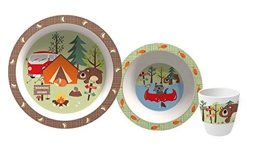 Gimex Kindergeschirrset Adventure, Kindergeschirr für Jungen & Mädchen 3-teilig, Spülmaschinenfest Kinderteller, Kinderschüssel & Kinderbecher | Kinder Geschirr Set Frühstücksset Melamin