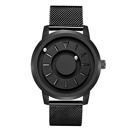 Runde magnetische Uhr Sport Wasserdichte Kugel Armbanduhr Persönlichkeit kreative Mode Uhr, für Männer und Frauen,Blackstainlesssteel