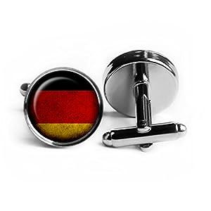 Germany German Flag Deutschland Deutsche Flagge Rhodium Silber Manschettenknöpfe