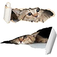 Two Cute 3D Cat Stickers - Funny Car Stickers - Wheelie Bin Stickers - Laptop Stickers