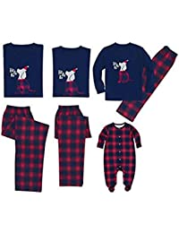 BESBOMIG Bueno Patrón de Mascotas Conjunto de Pijamas de Navidad Camisetas Familiares a Juego Personalizado - Tops y Pantalones de Manga Larga