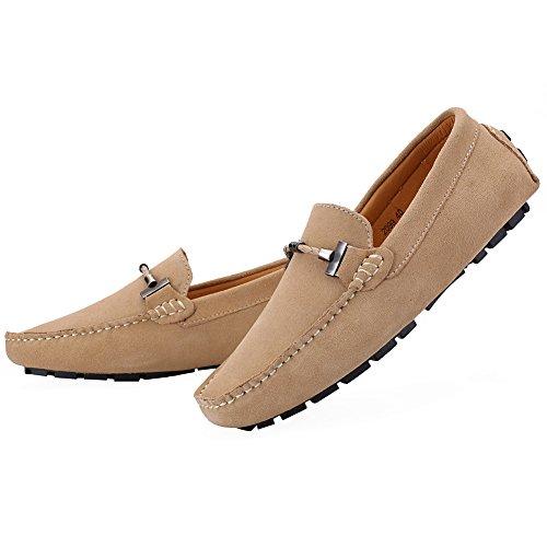 Jamron Hommes Élégant Boucle Chaussures de Conduite Suède Flâneur Chameau