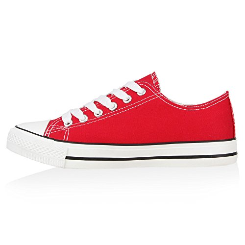 Damen Sneakers Kult Sportschuhe Freizeit Schnürer Rot