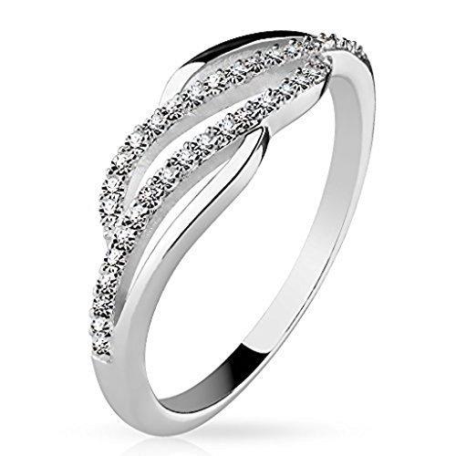 Tapsi´s Coolbodyart®| Damen Ring 925 Silber Zirkonia Zwei Reihen Geschwungen Größe 60(19)