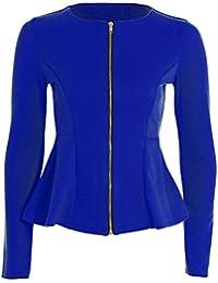 Fast Fashion Frauen Top Lange Ärmel Plain Zip Schößchen Blazer Jersey Jacke