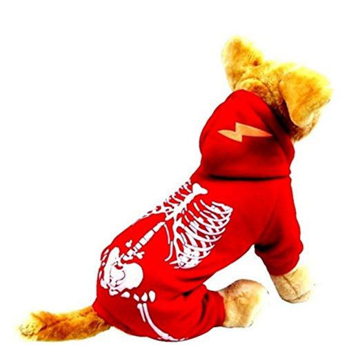 NACOCO Hund Kostüm Dinosaurier Kostüme Skelett Hoodies für Hunde Kleidung Halloween Tag Party Totenkopf Apparel, XL, Rot (Shih Tzu Im Teddy Kostüm)