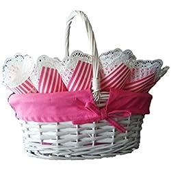 Cesto con 25 cucuruchos color rosado