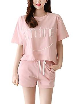 Pigiama Donna Estivo Elegante Pigiami Camicie Da Notte Sleepwear Homewear Manica Corta Girocollo T Shirt Top+Shorts...