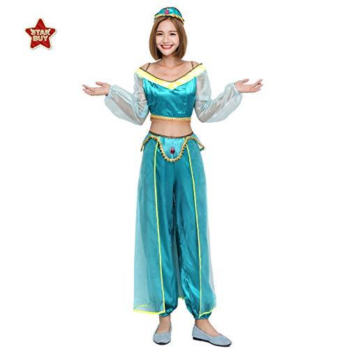 COSOER Arabische Prinzessin Kostüm Indische Tänzerin Zweifarbige Sexy Bauchtanz Kleidung Halloween Cosplay Kleidung,Green-S (Arabische Kostüm Name)