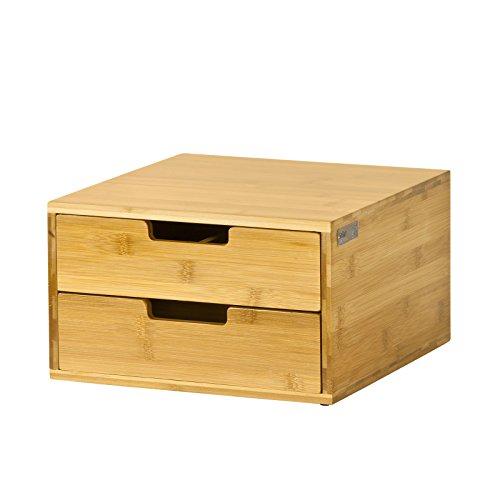 Sobuy® portacapsule, contenitore per capsule caffé, bustine tè, multiuso& anti-scivolo,in bambù,frg82-n, it