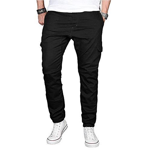 Jiameng pantaloni - pantaloni casual in tinta unita dalla personalità maschile pantalone sportivo con coulisse in cotone sportivo di colore puro (l,nero)