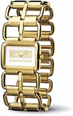Moschino MW0036 - Reloj analógico de cuarzo para mujer con correa de piel, color negro