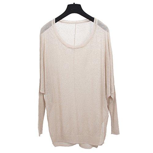 Liuanan Pullover lungo Maniche a pipistrello UV per maglieria linea donna Loose Maglione Tops camicette Cream Taglia unica