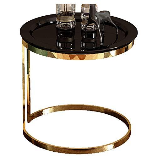 Salon Table Basse/côté canapé, Meubles créatifs pour la Maison Moderne en Bois, Rond, Noir (50 × 50 × 55,5 cm)