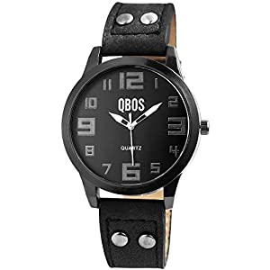 QBOS Damenuhr Schwarz Analog Metall Leder Quarz Armbanduhr