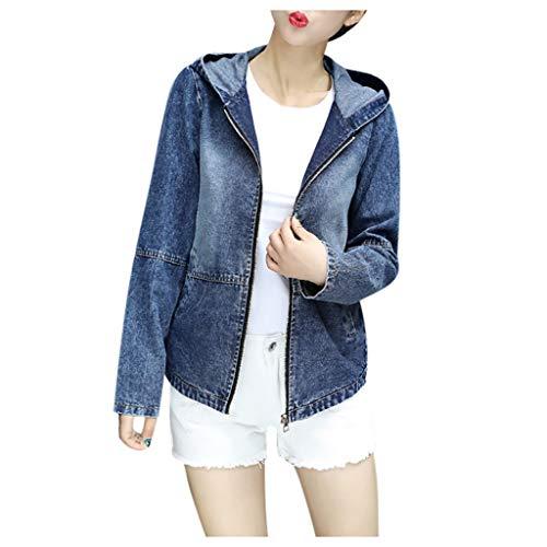 Xmiral Mantel Damen Denim Kapuzenjacke Zurück Stickerei Reißverschluss Jacke Jeansjacke mit Kapuze Slim Fit Strickjacke mit Taschen(Blau,XXL)
