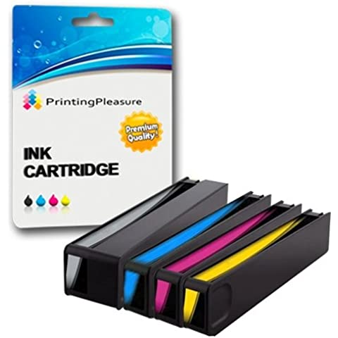 4 Compatibles HP 970XL / HP 971XL Cartuchos de tinta Reemplazo para HP Officejet Pro X451dn X451dw X476dn X476dw X551dw X576dw - Negro/Cian/Magenta/Amarillo, Alta