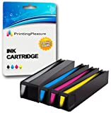 Printing Pleasure 4 (FULL SET) Compatible Ink Cartridges Replacement for HP 913A for HP PageWide 352dw 377dw Pro 452dw 452dwt 477dw 477dwt - Black/Cyan/Magenta/Yellow, High Capacity (Black: 3,500 Page
