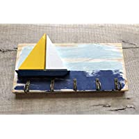 Coastal sailing themed wall mounted key hook